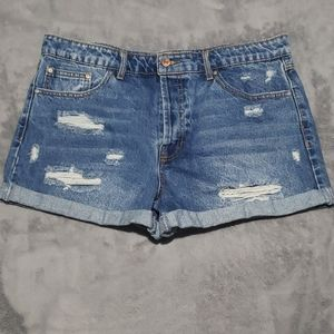 Forever 21 Distressed Button Fly Shorts 30